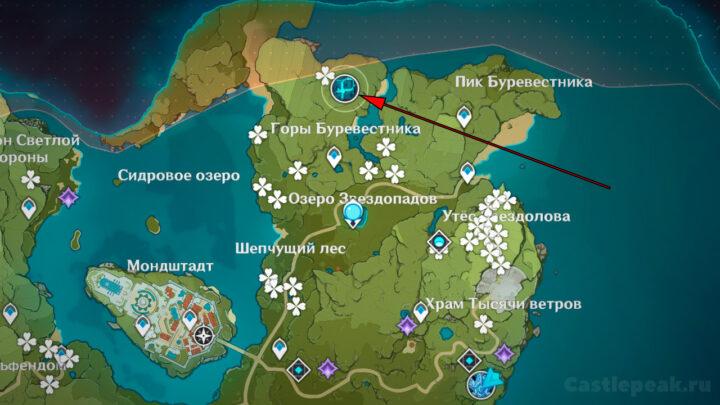Местоположение Анемо Гипостазиса на карте Genshin Impact