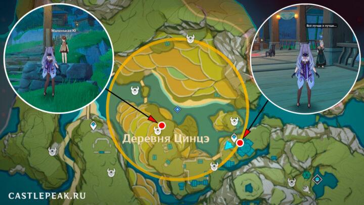 Бабуля Жо Синь и Маленький Йоу на карте Genshin Impact