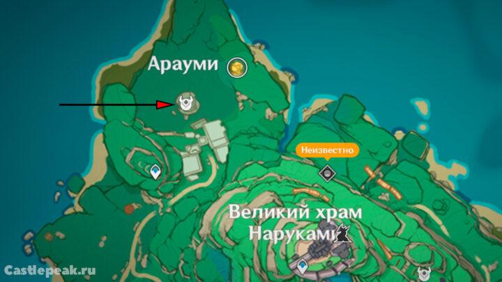 Разрушенная башня на карте