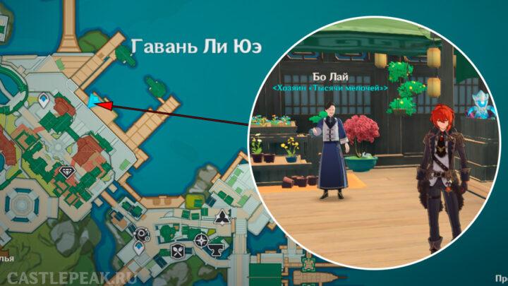 Торговец Бо Лай в Genshin Impact на карте