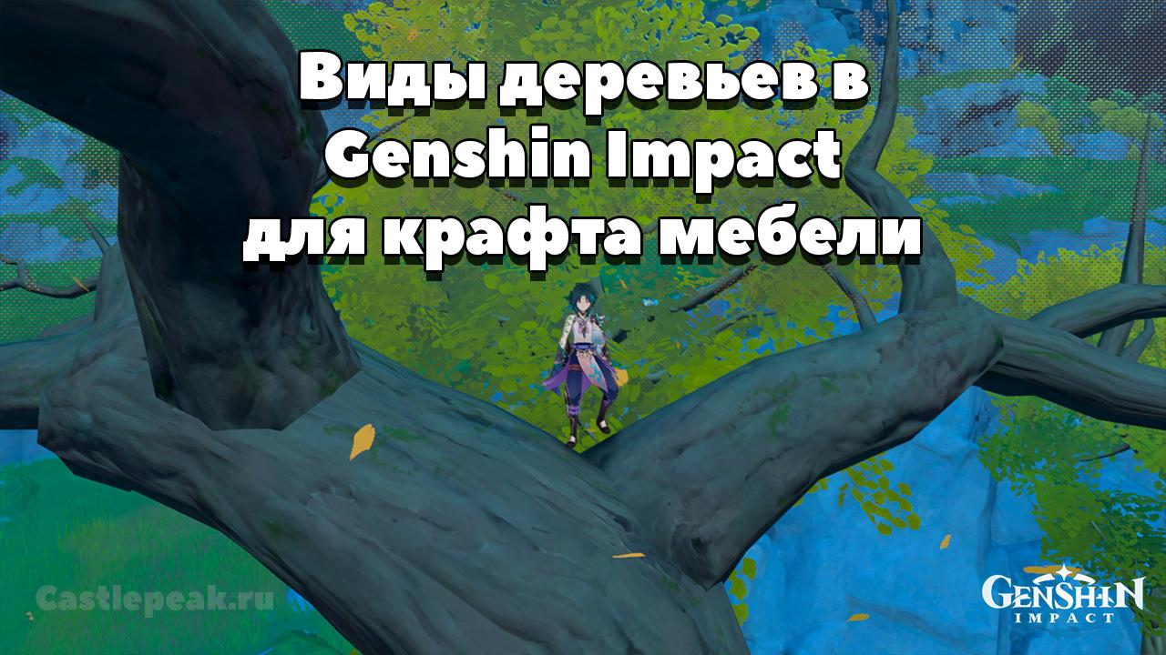 Виды деревьев в Genshin Impact для крафта мебели