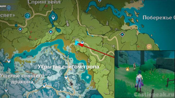 Местонахождения Джоэля на карте в Геншин Импакт