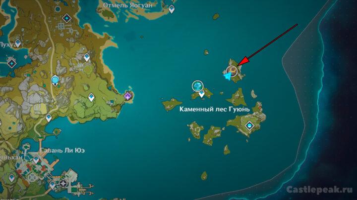 Гео Гипостазис на карте Genshin Impact