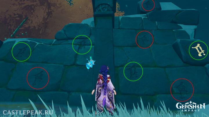 Две группы символов в головоломке - Genshin Impact