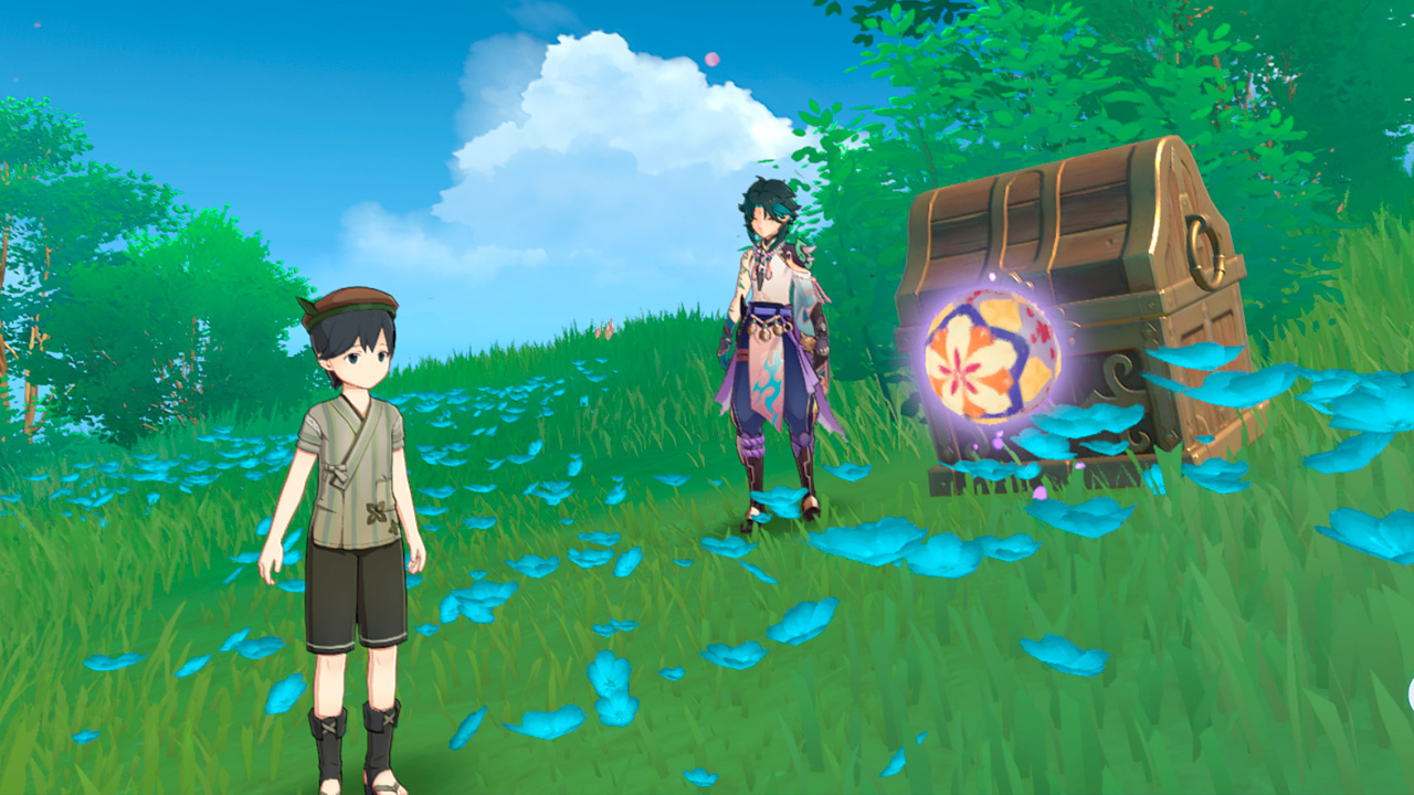 Игра Тэмари с малышом Кудзираем в Genshin Impact