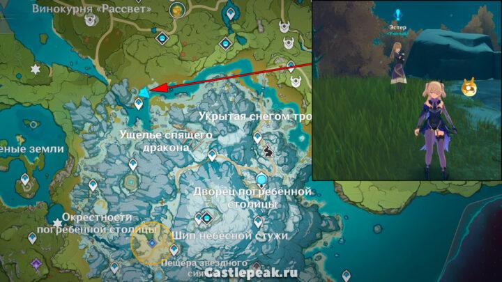 Местонахождение Эстер на карте Genshin Impact