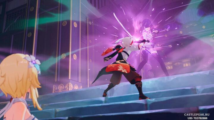 Кадзуха отражает удар сёгун Райдэн - Genshin Impact