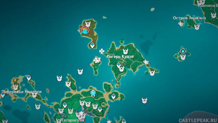 Пиро гипостазис в Genshin Impact на карте