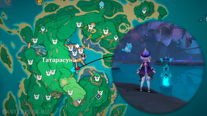 Местоположение испытания со сбором электро частиц на карте - Genshin Impact