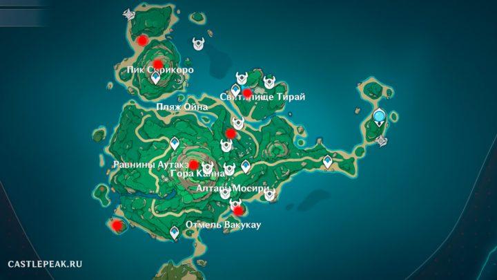 Местоположение всех головоломок с каменными плитами для святилища Тирай в Genshin Impact