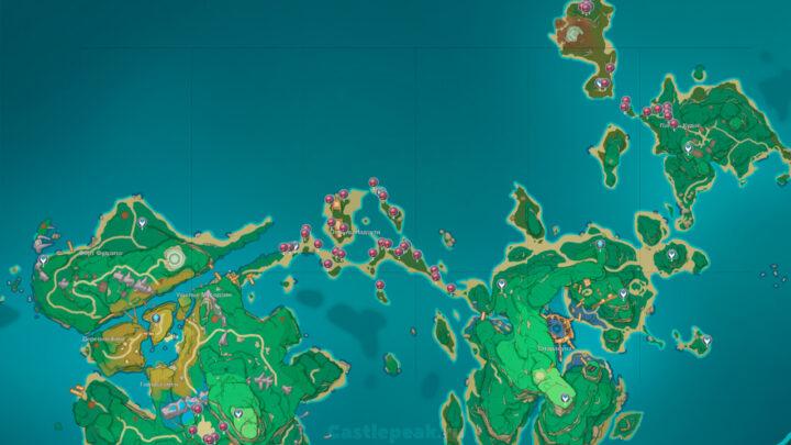 Карта кровоцветов в Genshin Impact