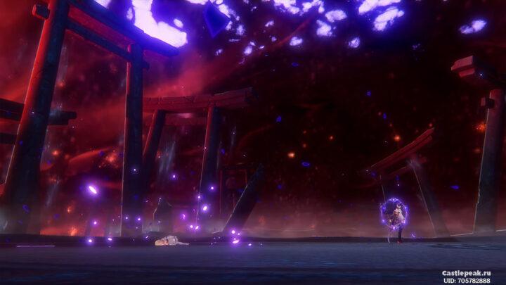 Электро Архонт сражает путешественницу - Грозовое правосудие в Genshin Impact