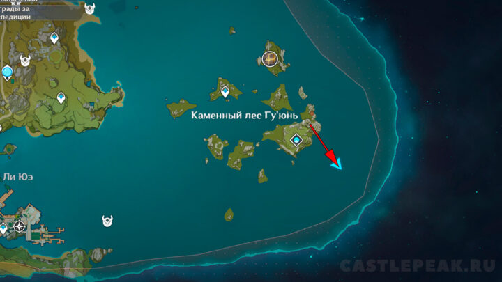 Корабль в Гу Юнь на карте