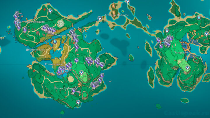 Кристальный костный мозг на карте в Геншин Импакт