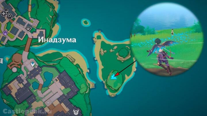 Малыш Кудзирай к востоку от столицы Инадзумы - Игра тэмари - Genshin Impact