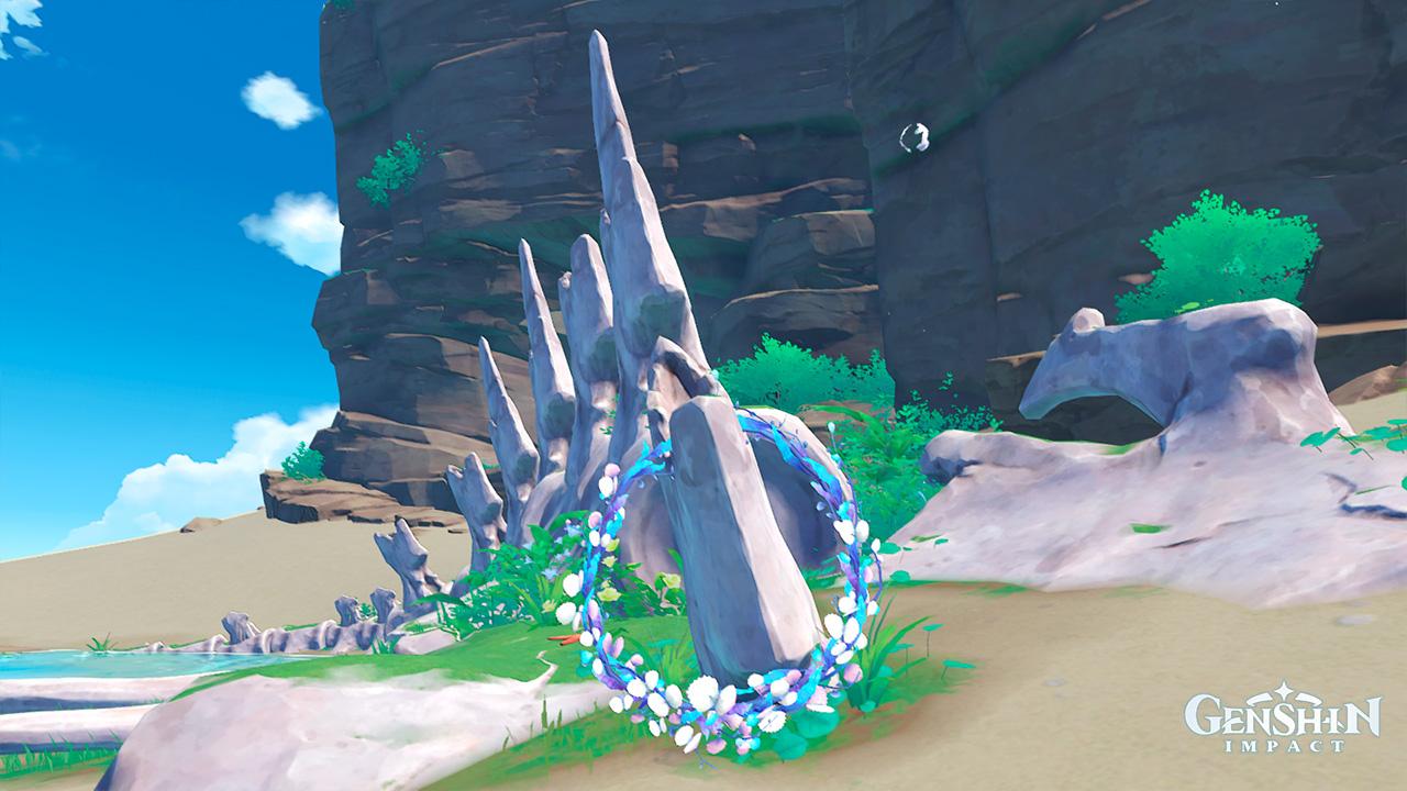 """Скелет Кунтиры, подруги Куми - квест """"Одинокий обитатель моря"""" в Genshin Impact"""