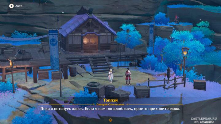 """Лагерь в деревни Боро, квест """"Всевидящий бог, бренный мир"""" в Genshin Impact"""