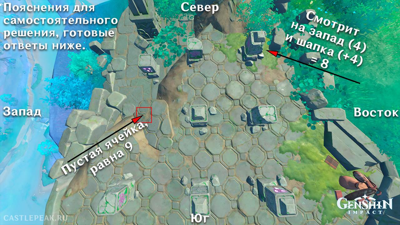 Логика решения головоломки с кубами на Ватацуми в Genshin Impact
