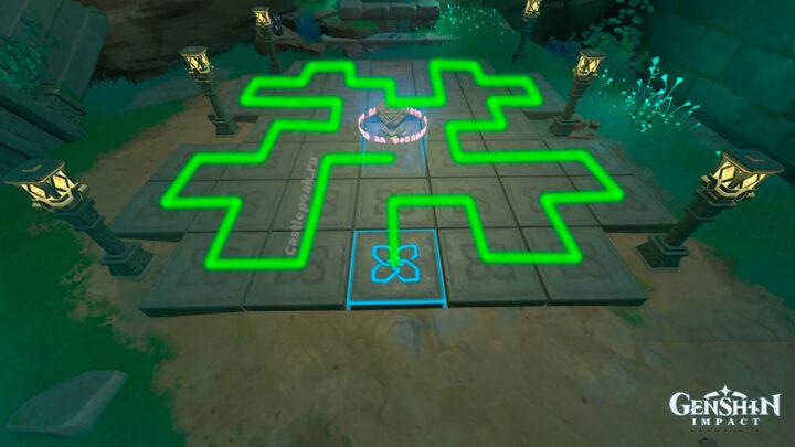 Решение второй головоломки с нажимными квадратами на Инадзуме в Genshin Impact