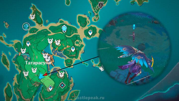 Местоположение Безымянного самурая на карте - Genshin Impact