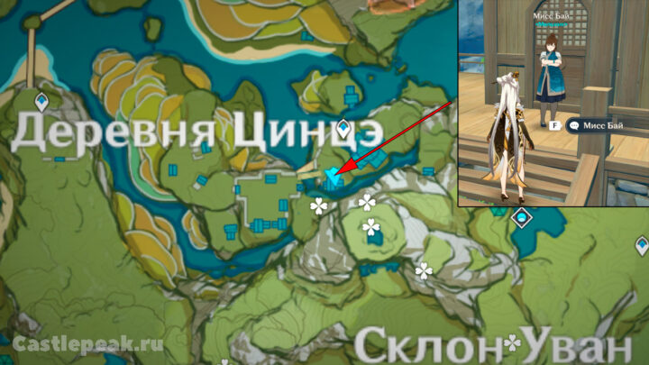 Мисс Бай на карте в Геншин Импакт