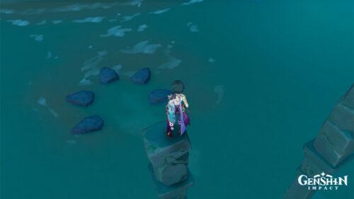 Головоломка с нажимными музыкальными камнями и бассейнами на Изломанном острове