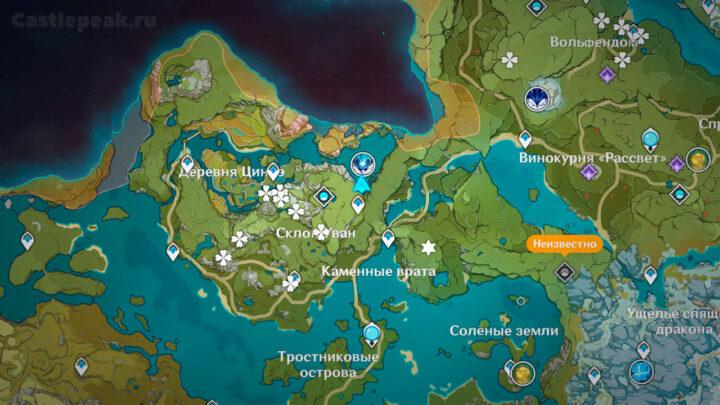 Местоположение Океанида на карте в Genshin Impact