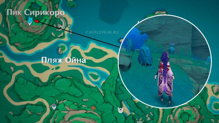 Местоположение загадки с Громовой птицей на пике Сирикоро в Genshin Impact