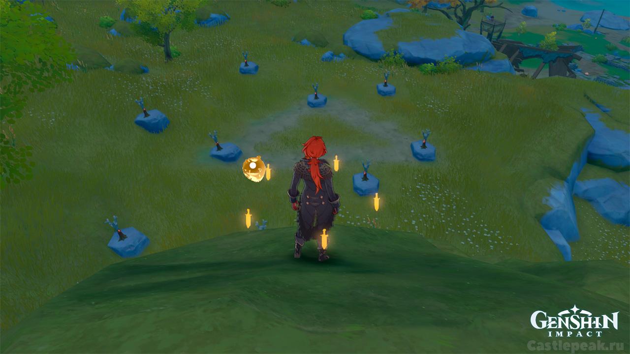Много пиро столбов (факелов) в Genshin Impact
