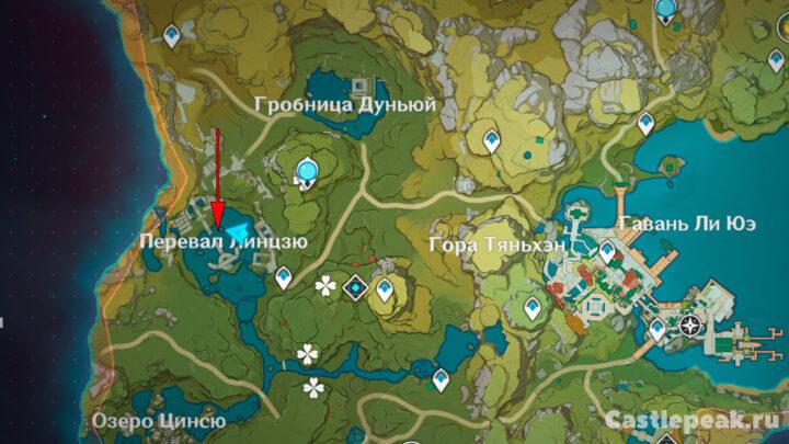 Местоположение головоломки на перевале Линцзю в Genshin Impact