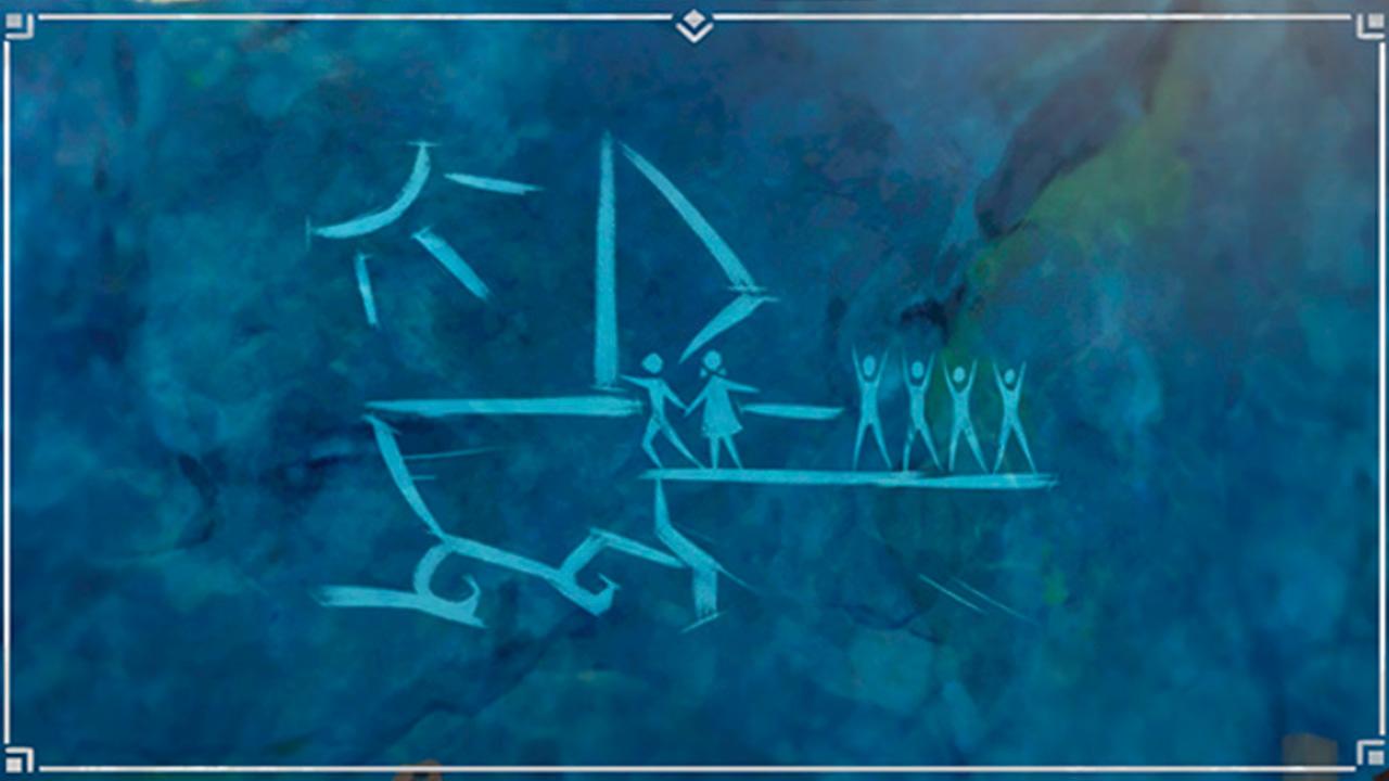 Наскальный рисунок по квесту Другая сторона острова и моря в Genshin Impact