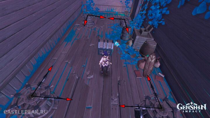 Головоломка со штурвалами внутри корабля - Genshin Impact