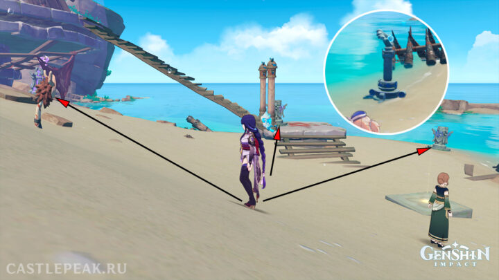 Активировав 3 монумента, вы снимите печать со столба - Genshin Impact, задание Одинокий обитатель моря