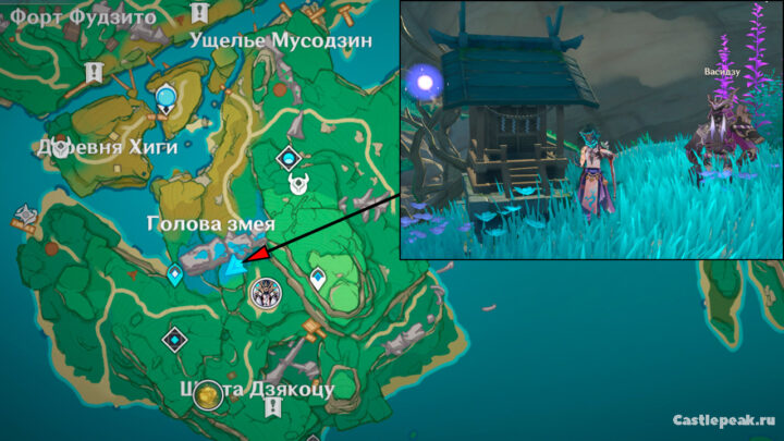 Святилище чужеземцев на карте Genshin Impact