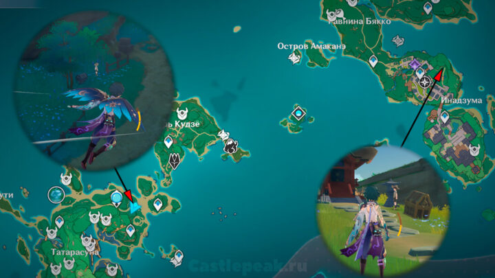 Тёдзи в Татарасуне и Наруками на карте - Genshin Impact