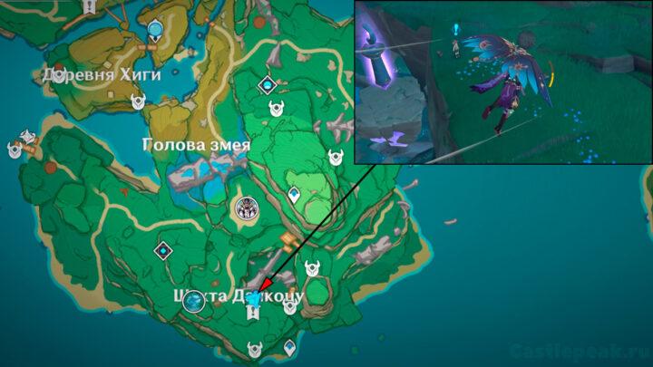 Тёдзи на карте - остров Ясиори - Genshin Impact