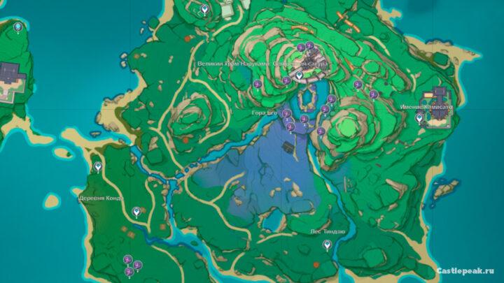 Трава Наку на карте Инадзумы - Genshin Impact
