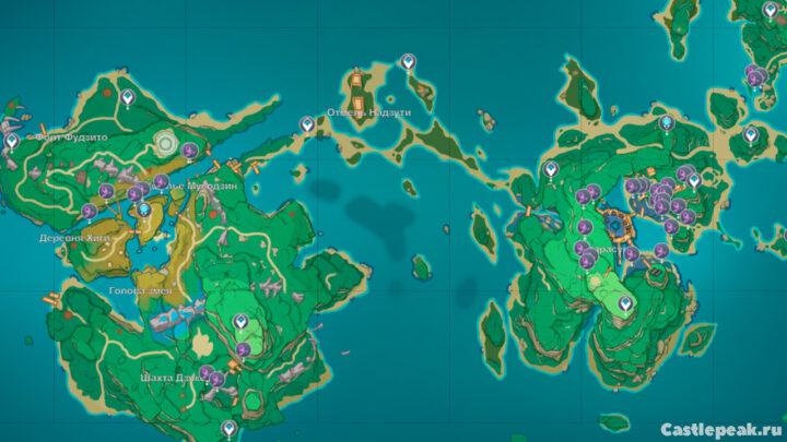 Карта травы Наку - Genshin Impact