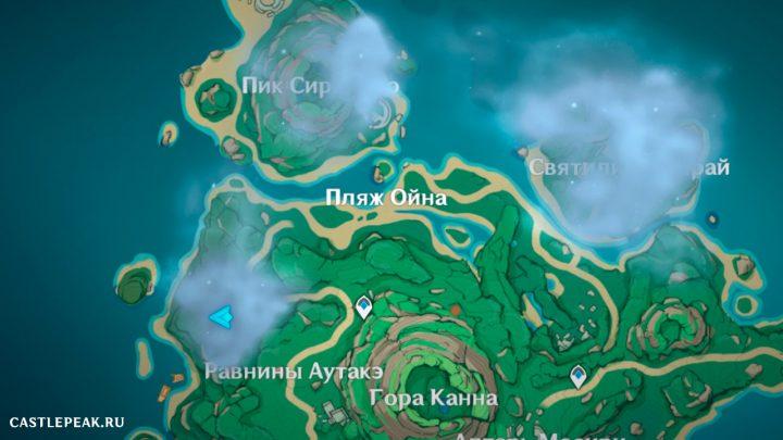 """Местоположение западного гнездовья - Квест """"Сквозь туман"""" в Genshin Impact"""